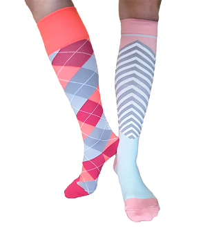 Two different coloured compression socks