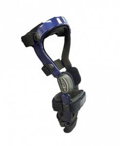 Blue custom knee brace by DonJoy, rigid frame