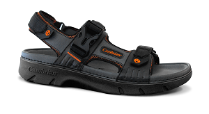Men's Cambrian Sandal, Mariner, Black/Orange, 3 Straps, removable insert