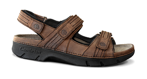 Men's Cambrian Sandal, Navigator, Brown, 3 Straps, removable insert